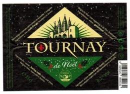 Etiquette Bière Tournay De Noël 33 Cl Brasserie Cazeau, Templeuve Bier Etiket Beer Label - Bière