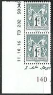 France - 140 Ans Du Type Sage 1876 2016 - Bande De Deux Neuve ** 5094 5095 - N Sous U Et N Sous B - France