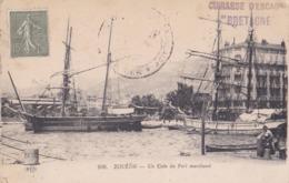 """Griffe Cuirassé D'Escadre """" Bretagne """" Sur Carte Postale De Toulon . - Poste Navale"""