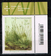 Bund 2018, Michel# 3411 ** Für Den Umweltschutz: Biologische Vielfalt, Eckrand Mit EAN-Code - Unused Stamps