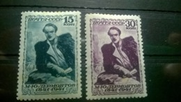 USSR  MN 1941 The 100th Anniversary Of The Death Of M. Yu. Lermontov. 15 Kopecks. - Perforation Comb. - Unused Stamps