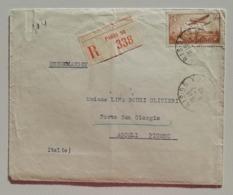 """Raccomandata Da Parigi Per Porto San Giorgio - 06/07/1937 """"perfin"""" A13 Isolato - Storia Postale"""