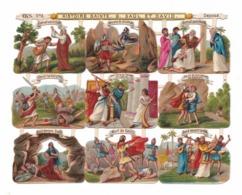 Histoire Sainte, Saül Et David, Planche De Découpis, Chromos, éd. CHKS N° 9, Samuel, Jonathan, Goliath, - Images Religieuses