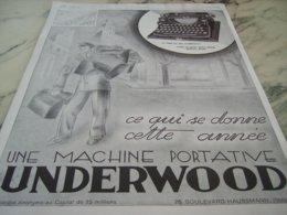 ANCIENNE PUBLICITE MACHINE A ECRIRE UNDERWOOD 1929 - Pubblicitari