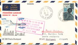 French Andorra Cover First Lufthansa Flight Boeing 737 City Jet Paris Stuttgart 23-4-1968 - French Andorra