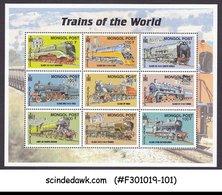 MONGOLIA - 2000 TRAINS OF THE WORLD / RAILWAY - MIN. SHEET MNH - Treni
