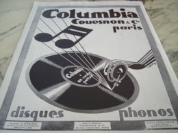 ANCIENNE PUBLICITE DISQUE PHONO COLUMBIA   1929 - Music & Instruments