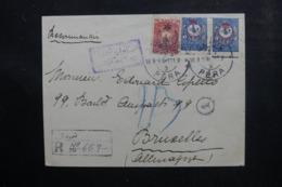 TURQUIE - Enveloppe En Recommandé De Péra Pour Bruxelles ( Envahi ) En 1916, Affranchissement Plaisant - L 46487 - 1858-1921 Empire Ottoman