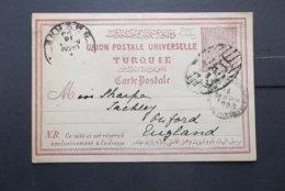 Turkey: 1895 Postal Card To England (#CV10) - 1858-1921 Ottoman Empire