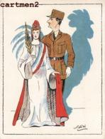 CARICATURE GENERAL DE GAULLE MARIANNE GUERRE 40 PATRIOTISME HUMOUR WAR WW - Characters