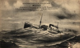 GUERRE NAVALE 1914 MEDIE PAQUEBOT FRANCAIS AFFECTE TRANSPORT DES TROUPES EN ORIENT - Paquebots