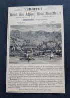 1884 TERRITET HOTEL DES ALPES HOTEL MONFLEURI CHEMIN FER GLION PUBLICITE SUISSE CHESSEX GERANT CURE LAIT CHEVRE SOURCE - Publicités