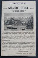 1884 THOUNE GRAND HOTEL THUNERHOF SUISSE CHARLES STAEHLE GERANT PUBLICITE ANCIENNE ANTIQUE AD HOTELLERIE - Publicités