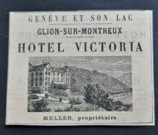 1884 GENEVE HOTEL VICTORIA GLION SUR MONTREUX PROPRIETAIRE MULLER PUBLICITE ANCIENNE SUISSE HOTELLERIE - Publicités