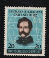 1952 17. Sept . Carl Schurz Mi DE 155 Sn DE 691 Yt DE 41 Sg DE 1079 AFA DE 1116 M. G. U. Falz (x) - [7] République Fédérale