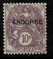ANDORRA ANDORRE 1931 Type BLANC 10c Violet  ** Neuf SANS Charnière Gomme Origine  2 Scan - Andorre Français