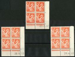 """N° 435 ** (MNH). 3 Coins Datés Du 26/4/40, 29/4/40 Et 22/3/41. Blocs De Quatre """"Iris"""". - Ecken (Datum)"""