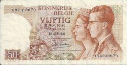 BELGIQUE 50 FRANCS 1966 VF P 139 - [ 2] 1831-... : Koninkrijk België