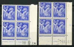 """N° 434 **/* (MNH/MH). 2 Coins Datés Du 18/12/39 Et 7/5/40. Blocs De Quatre """"Iris"""". - 1940-1949"""