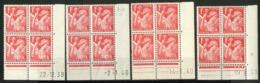 """N° 433 **/* (MNH/MH). 4 Coins Datés Différents. Blocs De Quatre """"Iris"""". - Ecken (Datum)"""