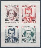 MONACO 1951 YT N°379B à 382B - Feuillet De 4 Timbres Croix Rouge Princesse Charlotte Et Prince Rainier - Neuf** TTB Etat - Monaco