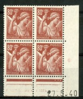 """N° 431 ** (MNH) Cote 14€. Coin Daté Du 27/5/40. Bloc De Quatre """"Iris"""". - Ecken (Datum)"""