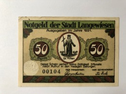 Allemagne Notgeld Langewiesen 50 Pfennig - [ 3] 1918-1933: Weimarrepubliek