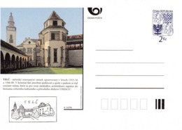 Czech Republic 1994 Postal Stationery Card: Architecture Castle Lion Eagle; TELČ A14/94 - Architecture