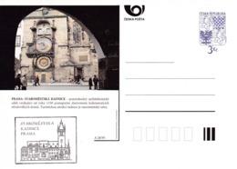 Czech Republic 1995 Postal Stationery Card: Architecture Castle Lion Eagle; PRAHA STAROMESTSKA RADNICE A28/95 - Architecture