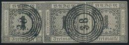 BADEN 5 O, 1853, 1 Kr. Schwarz Im Waagerechten, Allseits Breitrandigen Dreierstreifen, Nummernstempel 38 (ENGER), Rechte - Baden
