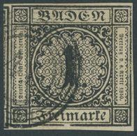 BADEN 5IV O, 1853, 1 Kr. Schwarz Mit Plattenfehler Einfassungs- Und Randlinie Unter Im In Freimarke Gebrochen, Voll-ries - Baden