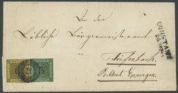 BADEN 6/7 BRIEF, 1853, 3 Kr. Schwarz Auf Grün (oben Leicht Berührt) Mit Vollrandiger 6 Kr. Schwarz Auf Gelb Auf Brief Vo - Baden