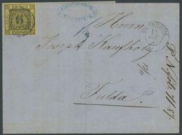 BADEN 7 BRIEF, 1860, 6 Kr. Schwarz Auf Gelb, Waagerechte Büge, Auf Brief Von WEINHEIM Nach Fulda, Feinst - Baden