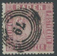 BADEN 12 O, 1861, 9 Kr. Karmin, Normale Zähnung, Pracht, Gepr. Flemming, Mi. 220.- - Baden