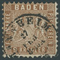 BADEN 15a O, 1862, 9 Kr. Hellrötlichbraun, Pracht, Mi. 100.- - Baden