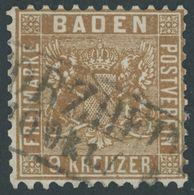 BADEN 15b O, 1862, 9 Kr. Gelbbraun, R2 PFORZHEIM, Pracht, Kurzbefund Stegmüller, Mi. 320.- - Baden