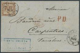 BADEN 20a BRIEF, 1867, 9 Kr. Rötlichbraun Auf Brief Von CARLSRUHE Nach Frankreich, Pracht, Gepr. Brettl - Baden