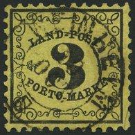 BADEN LP 2x O, 1863, 3 Kr. Schwarz Auf Gelb, Zentrischer K2 WEINHEIM, Feinst (leichte Zahnmängel), Gepr. Stegmüller, Mi. - Baden