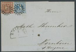 BAYERN 2II,4II BRIEF, 1858, 3 Kr. Blau Mit MR-Stempeln 606 Auf Brief Von ZWIESEL Nach Dornbirn, Pracht - Beieren