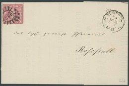 BAYERN 3Ib BRIEF, 1856, 1 Kr. Dunkelrosa, Voll-breitrandig, Auf Drucksache Mit Klarem MR-Stempel 243 (Nürnberg), Prachtb - Beieren