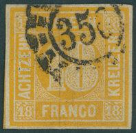 BAYERN 7 O, 1854, 18 Kr. Gelblichorange, Mit Offenem MR-Stempel 356, Pracht, Mi. 240.- - Beieren