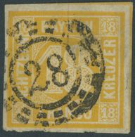 BAYERN 7 O, 1854, 18 Kr. Gelblichorange, Helle Stelle Sonst Breitrandig Pracht, Mi. 240.- - Beieren
