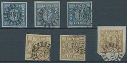 BAYERN 10/1 O,BrfStk , 1862, 6 Kr. Blau Und 9 Kr. Braun, Je 3 Pracht- Und Kabinettwerte In Nuancen - Beieren