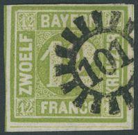 BAYERN 12 O, 1862, 12 Kr. Dunkelgelbgrün, MR-Stempel 101 (EDENKOBEN), Pracht, Mi. 100.- - Beieren