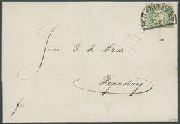 BAYERN 14b BRIEF, 1868, 1 Kr. Dunkelgrün Mit Segmentstempel SCHWEINFURT Auf Brief Nach Regensburg, Kabinett, Gepr. Pfenn - Beieren