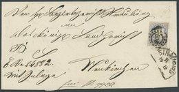 BAYERN 16 BRIEF, 1867, 16 Kr. Ultramarin Mit Offenem MR-Stempel 508 Auf Doppelt Verwendeter Briefhülle Aus STRAUBING, Pr - Beieren