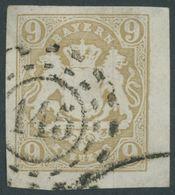 BAYERN 17 O, 1862, 9 Kr. Ockerbraun, Offener MR-Stempel 145, Breitrandig, Pracht - Beieren