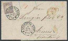 BAYERN 18 BRIEF, 1869, 12 Kr. Hellbraunviolett Mit K2 NÜRNBERG BHF Auf Kabinettbrief Nach Frankreich - Beieren