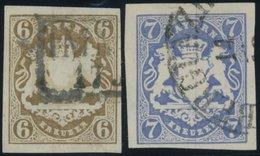 BAYERN 20,21a O, 1868, 6 Kr. Ockerbraun Und 7 Kr. Ultramarin, 2 Breitrandige Prachtwerte, Mi. 85.- - Beieren