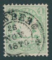 BAYERN 22Xc O, 1870, 1 Kr. Bläulichgrün, Wz. Enge Rauten, Kabinett, Gepr. Schmitt, (100.-) - Beieren